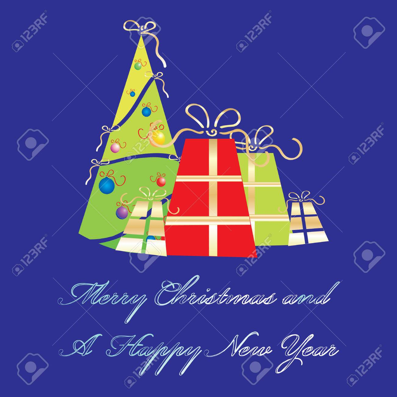 Merry Christmas And A Happy New Year Greeting Card Template – New Year Greeting Card Template