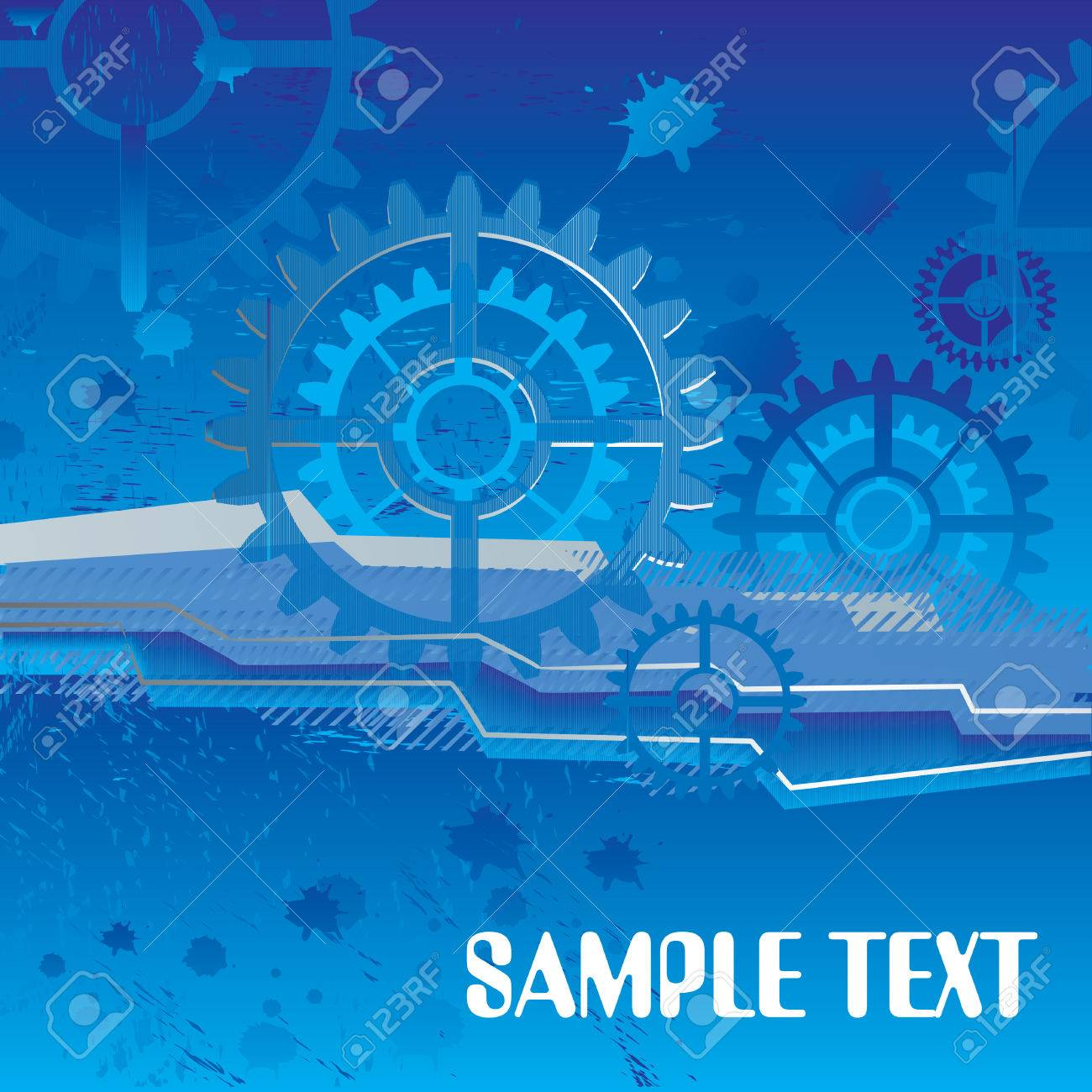 large industrial gears set futuristic background with copy space, vector illustration Stock Vector - 3797982