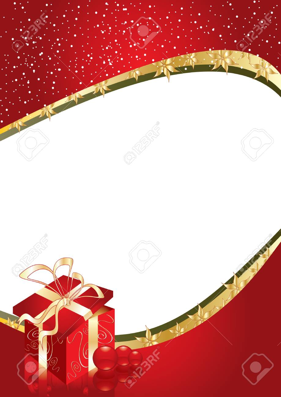 Greeting card with gift box and copy space or place for your image, vector illustration Stock Vector - 3969045