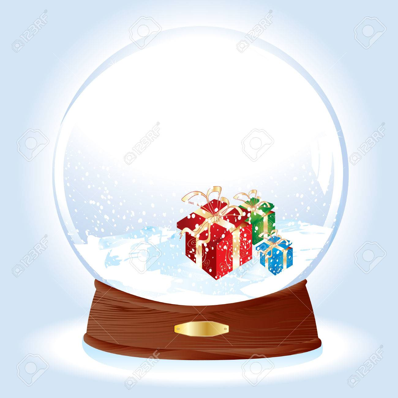 Realistic vector illustration of an snow-dome with gifts on snow Stock Vector - 4018565
