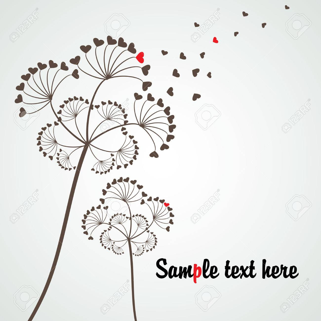 stylized dandelion for love subject with copy space, vector Stock Vector - 4347223