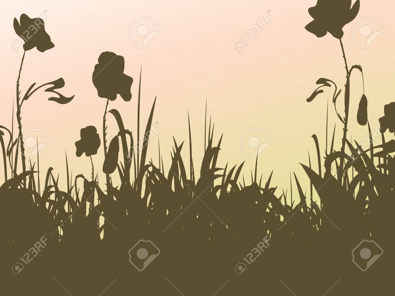 vector floral silhouettes backgrounds Stock Vector - 4526339