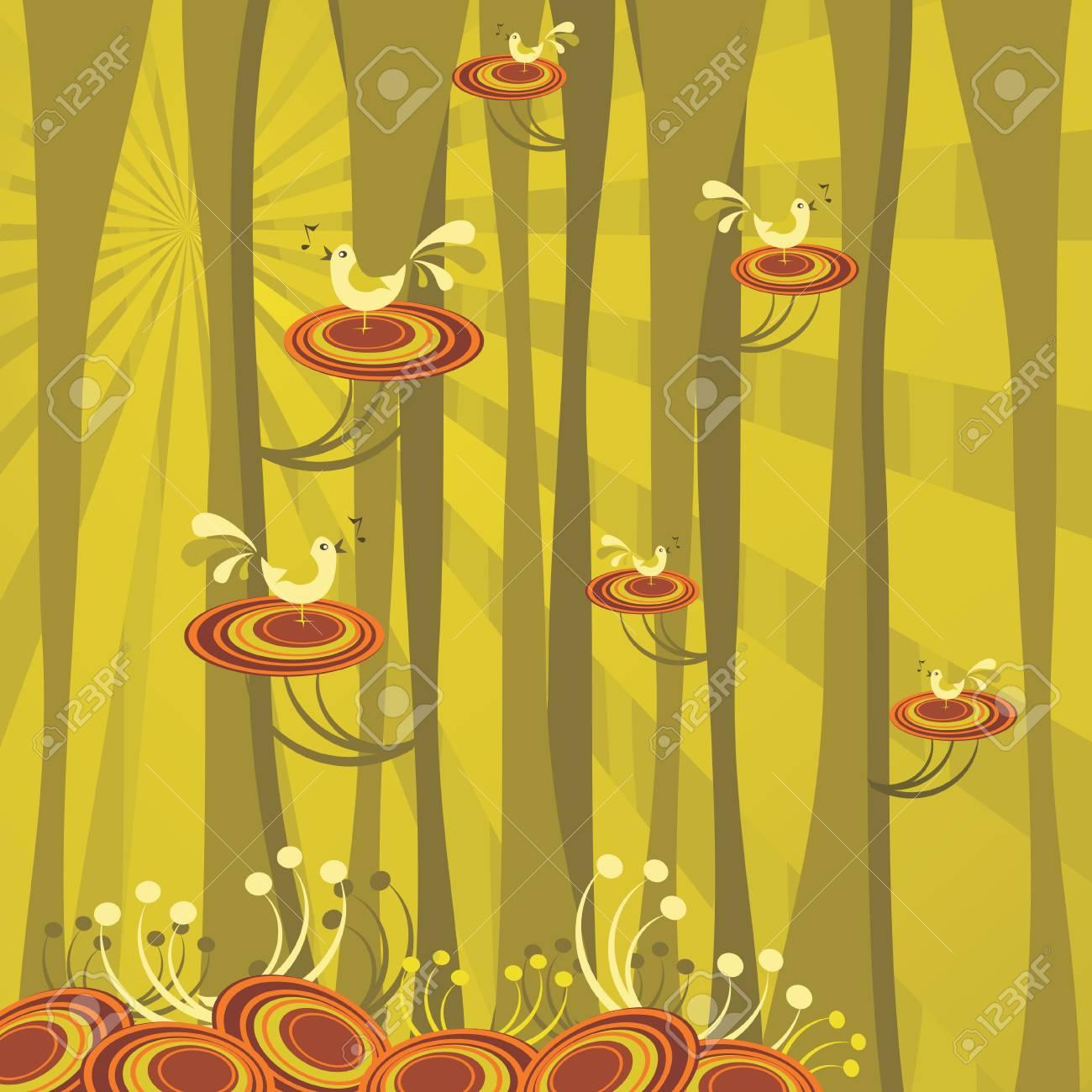 abstract forest scene, retro vector illustration Stock Vector - 4648181