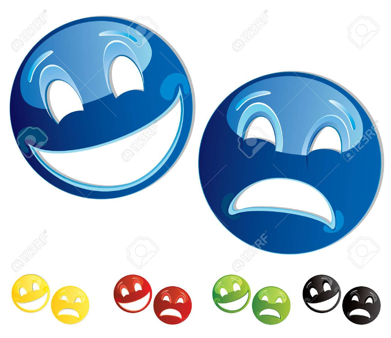 Set of smilies comedy-tragedy masks Stock Vector - 4803864