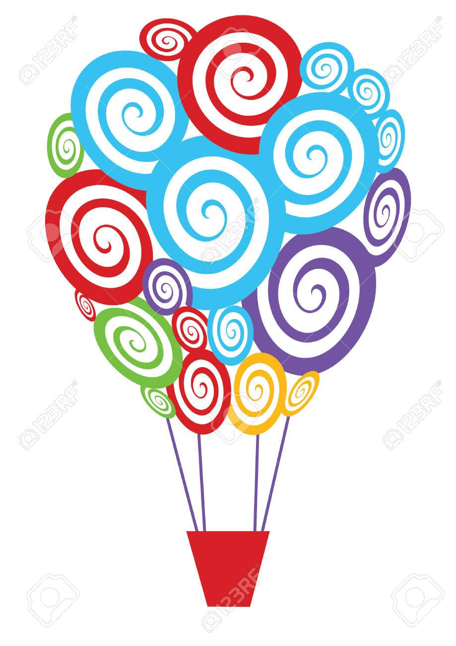 vector colorful swirly hot air balloon Stock Vector - 4822665
