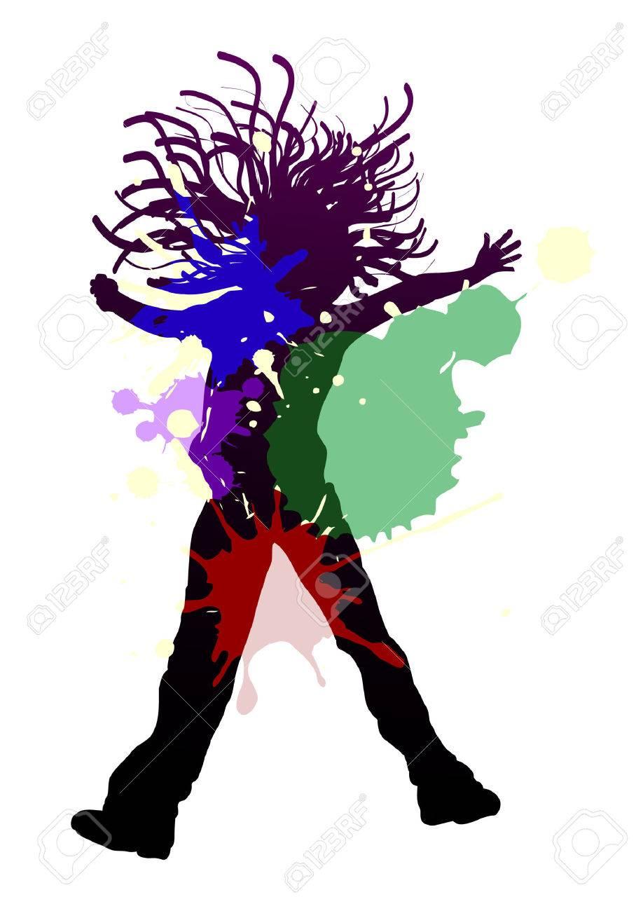 d6aea3ce083de Happy Young Girl Dancing In Splash Colors Royalty Free Cliparts ...
