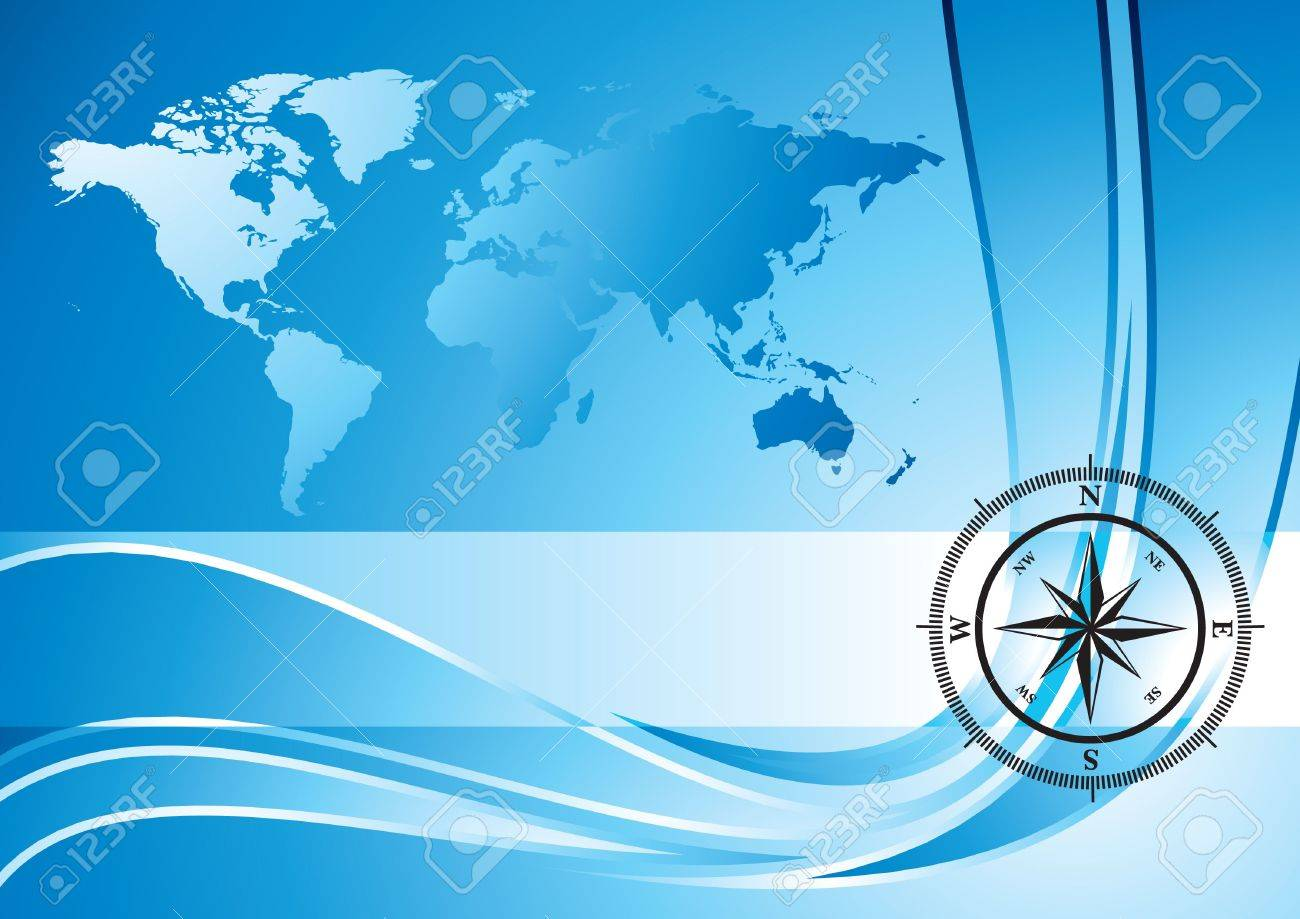 Blue background with compass and world map, illustration Stock Illustration - 5310427