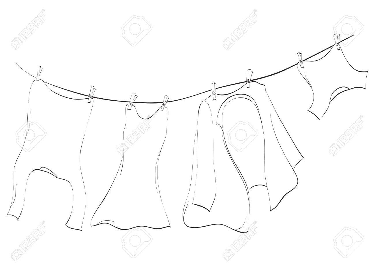 Line art of washing lines with drying clothes, illustration Stock Photo - 5761907