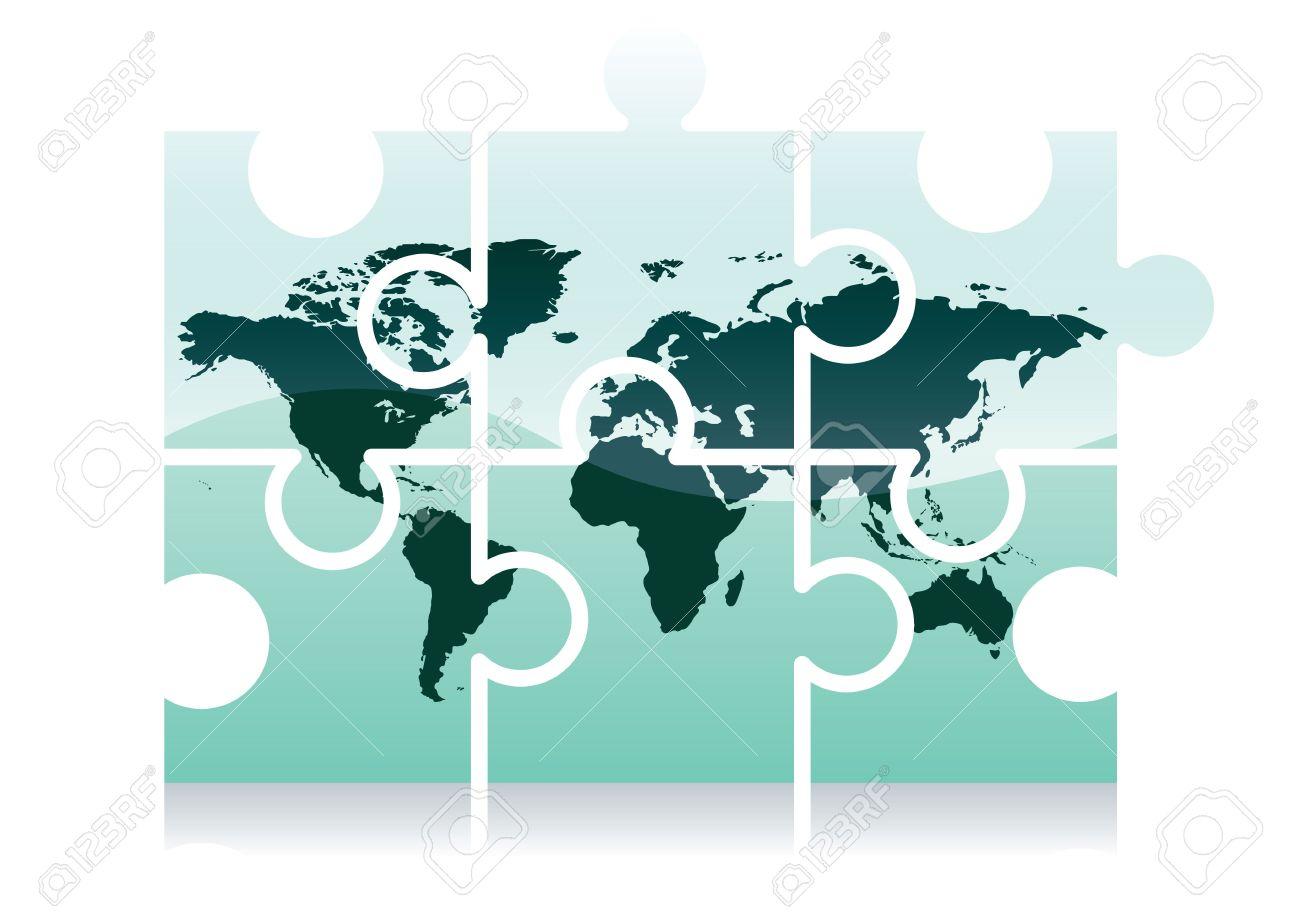 Shiny Jigsaw World Map Puzzle Icon Illustration Stock Photo - Chicago map puzzle