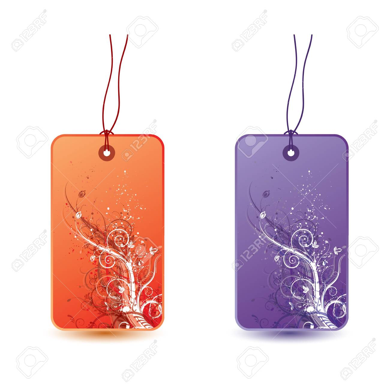 Floral tags with grunge elements, illustration Stock Illustration - 6652492