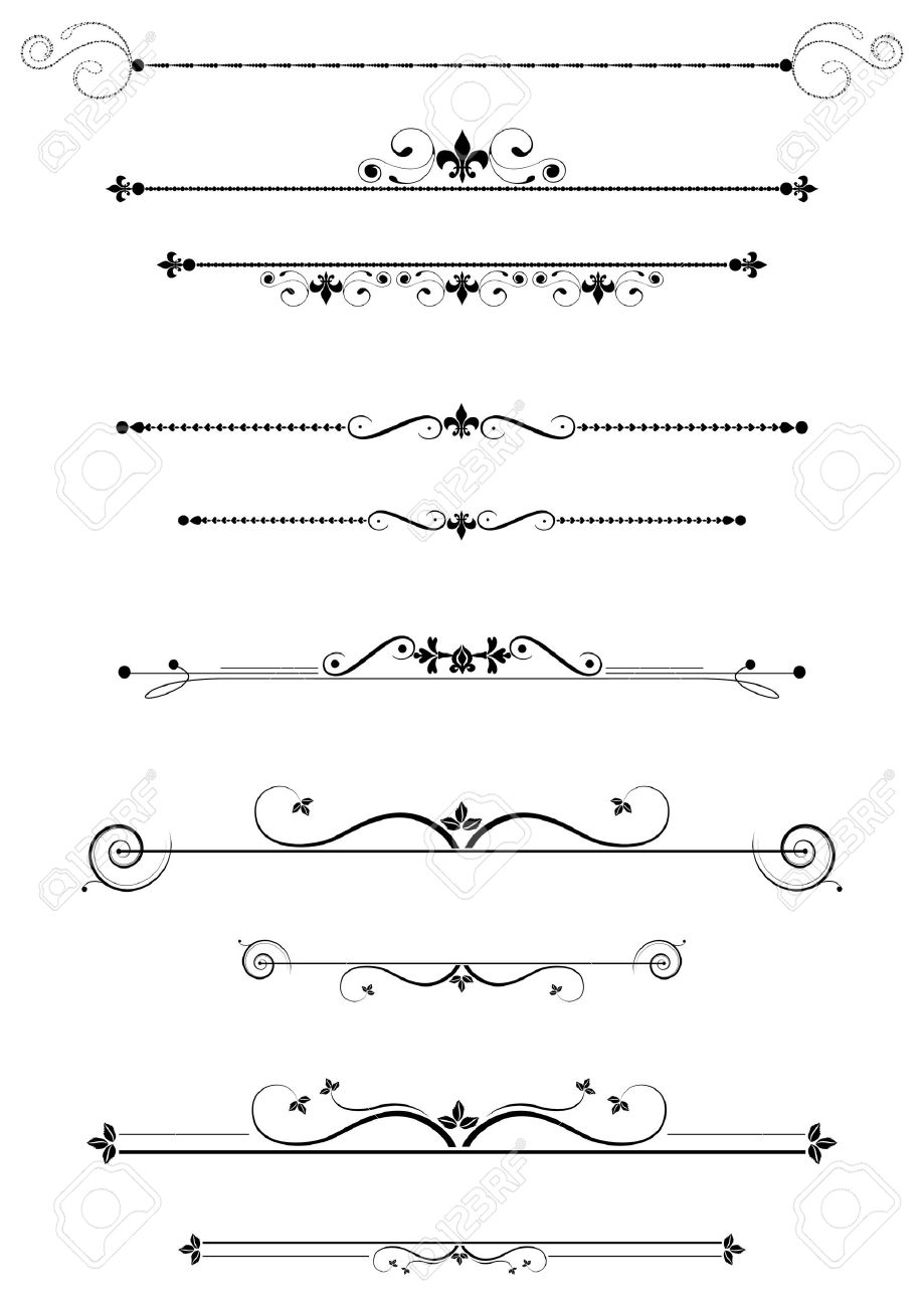 Decorative dividers and accents set, illustration Stock Photo - 6685426