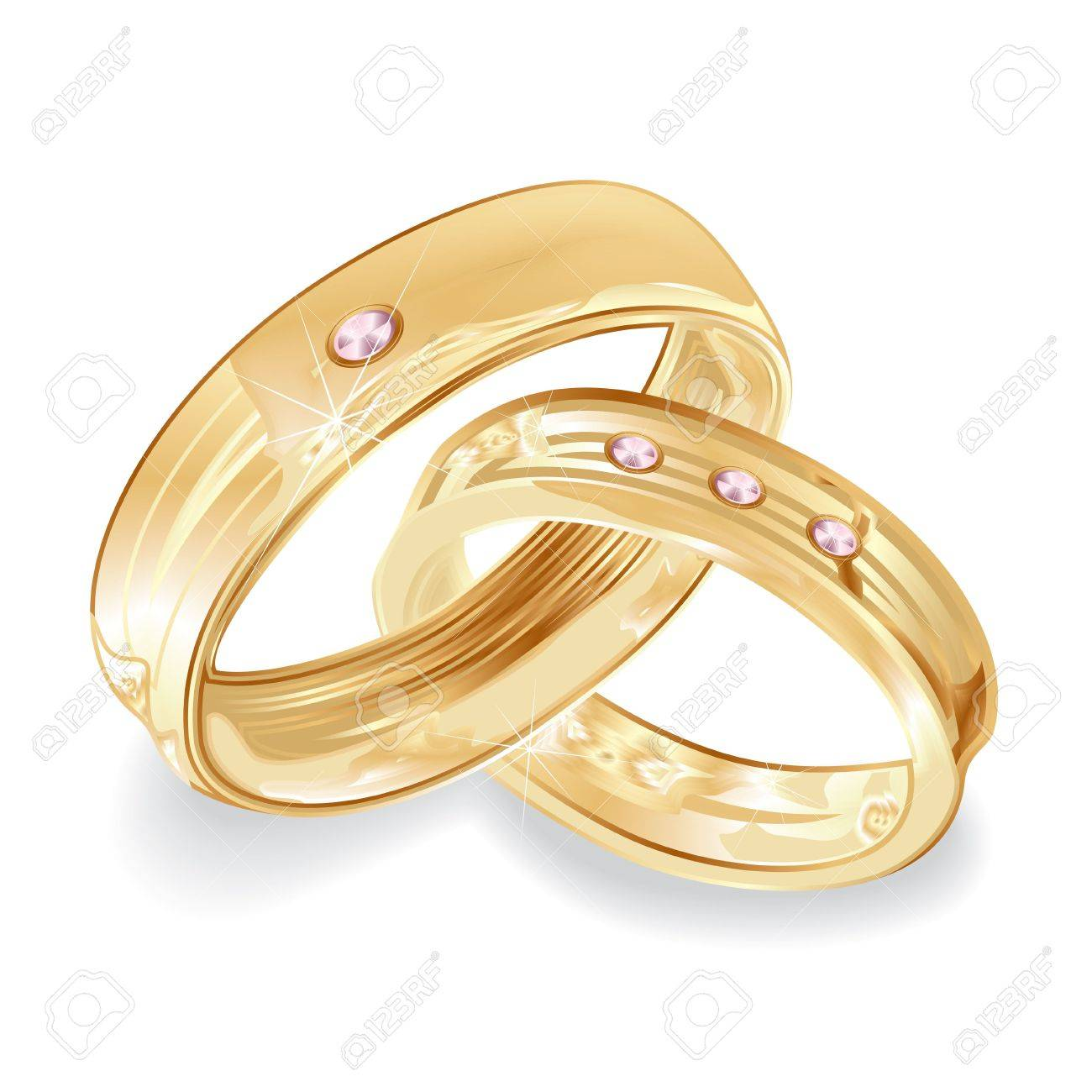 Female And Male Gold Wedding Rings Illustration Stock Photo