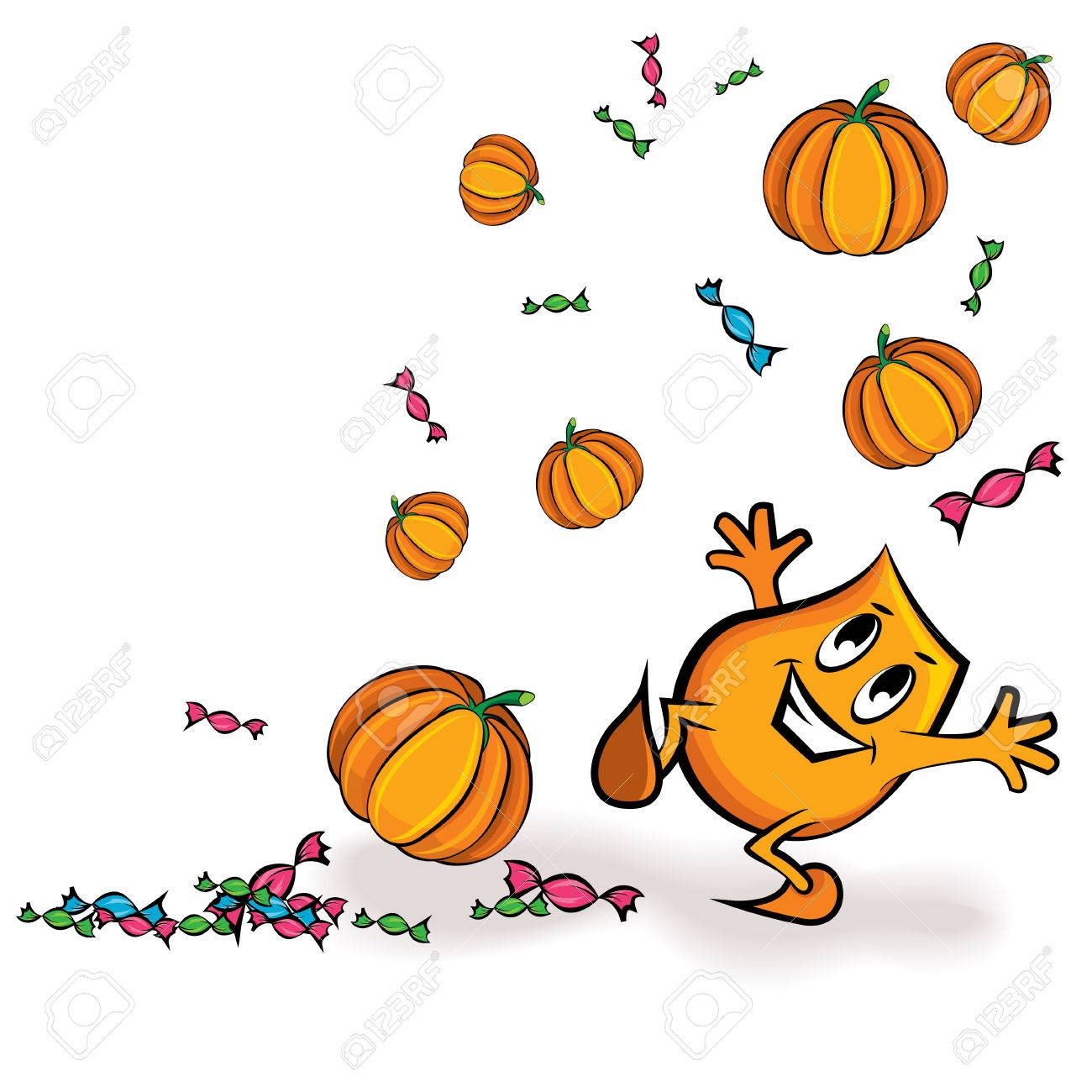 Cartoon character - Blinky - playing with treats and pumpkins,  illustration Stock Vector - 7675681