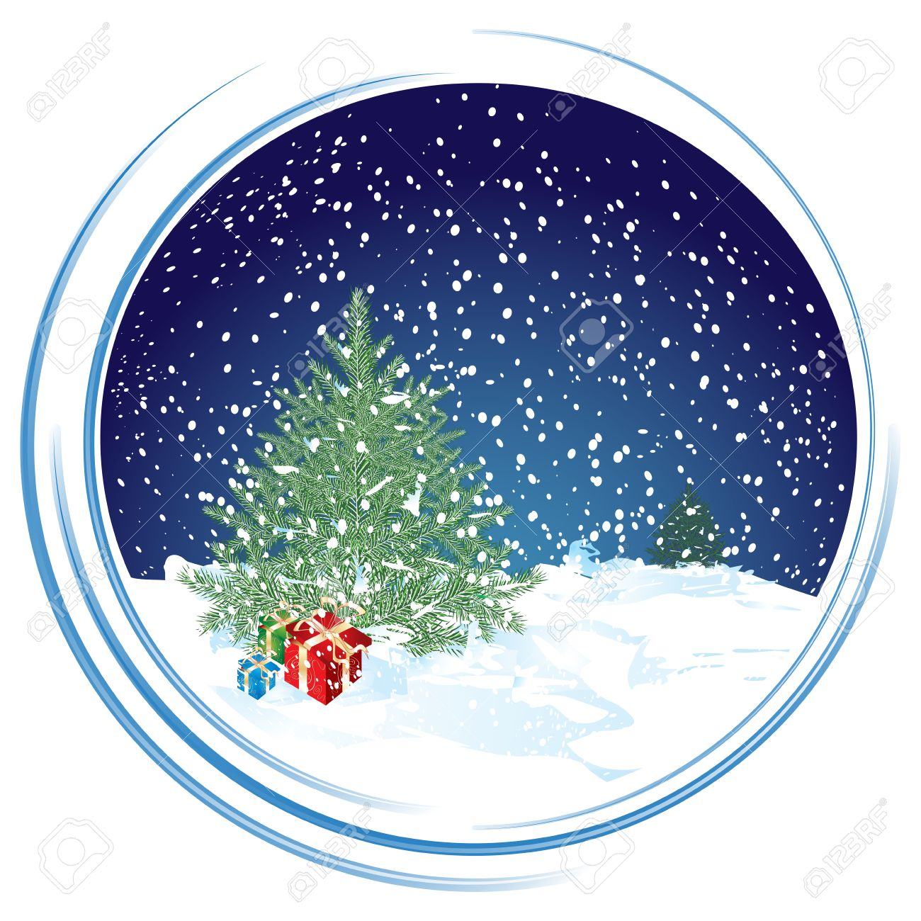 Christmas Scene In Circle Background, Illustration Royalty Free ...