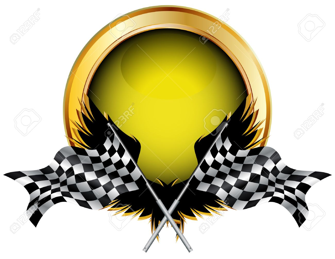 Racing flags and golden button for your text Stock Vector - 8119480