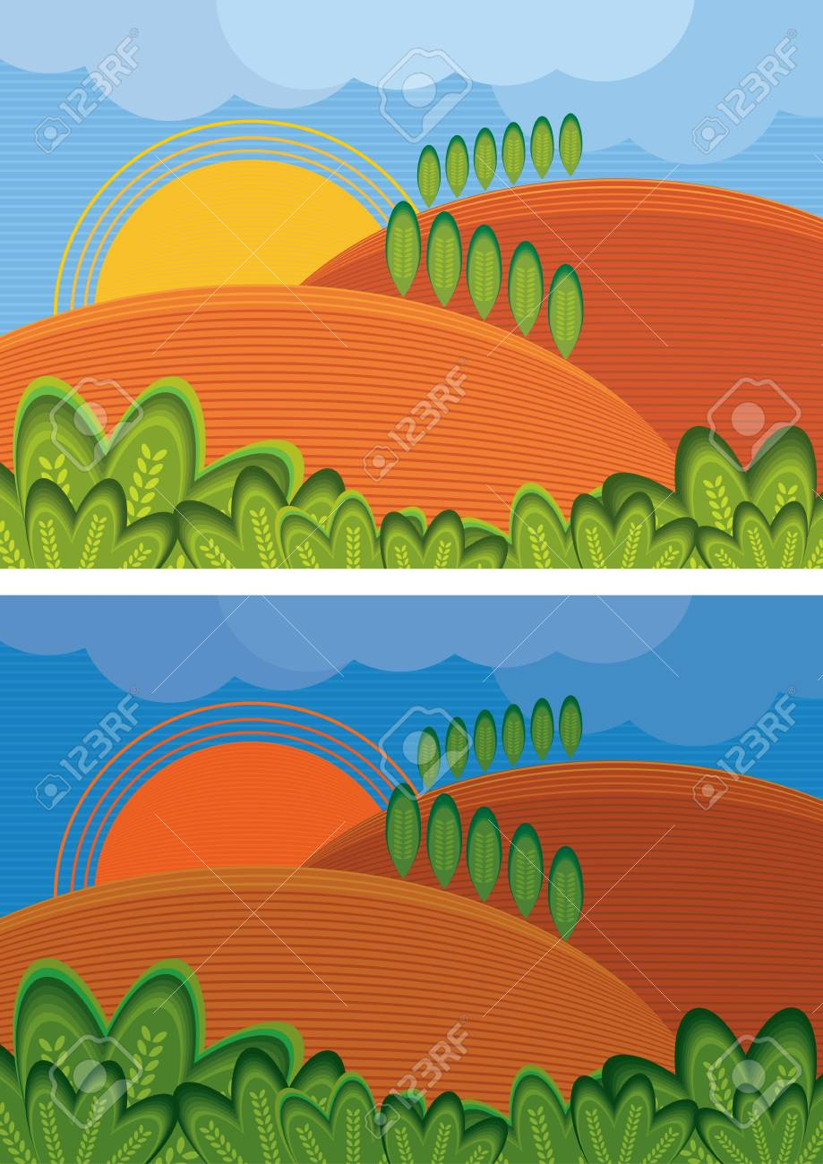 Summer day rural night and day landscape Stock Vector - 9622120