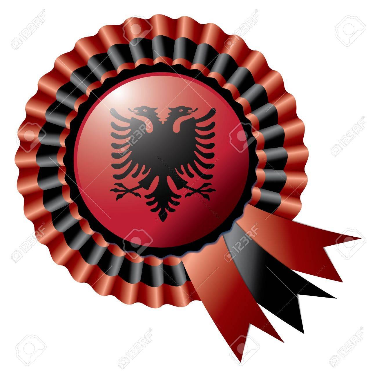 Albania detailed silk rosette flag Stock Vector - 14388114
