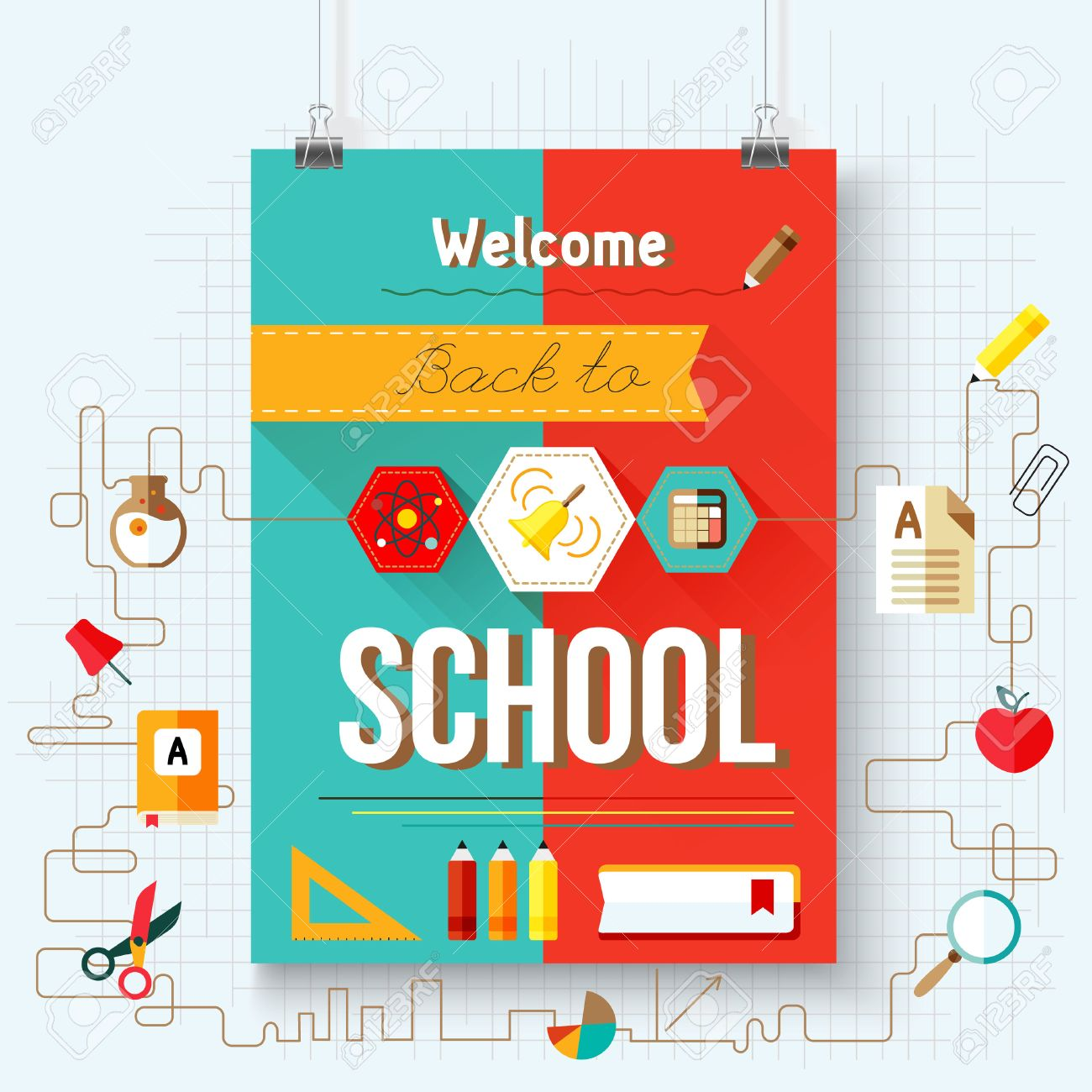 back to school vector poster with aicons design elements royalty