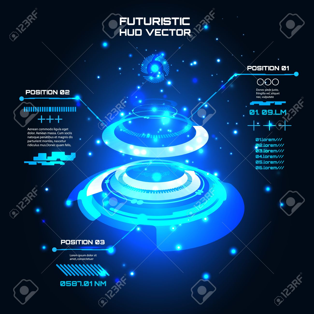 Sci fi Futuristic user interface, infographics, HUD, technology vector background - 55426631