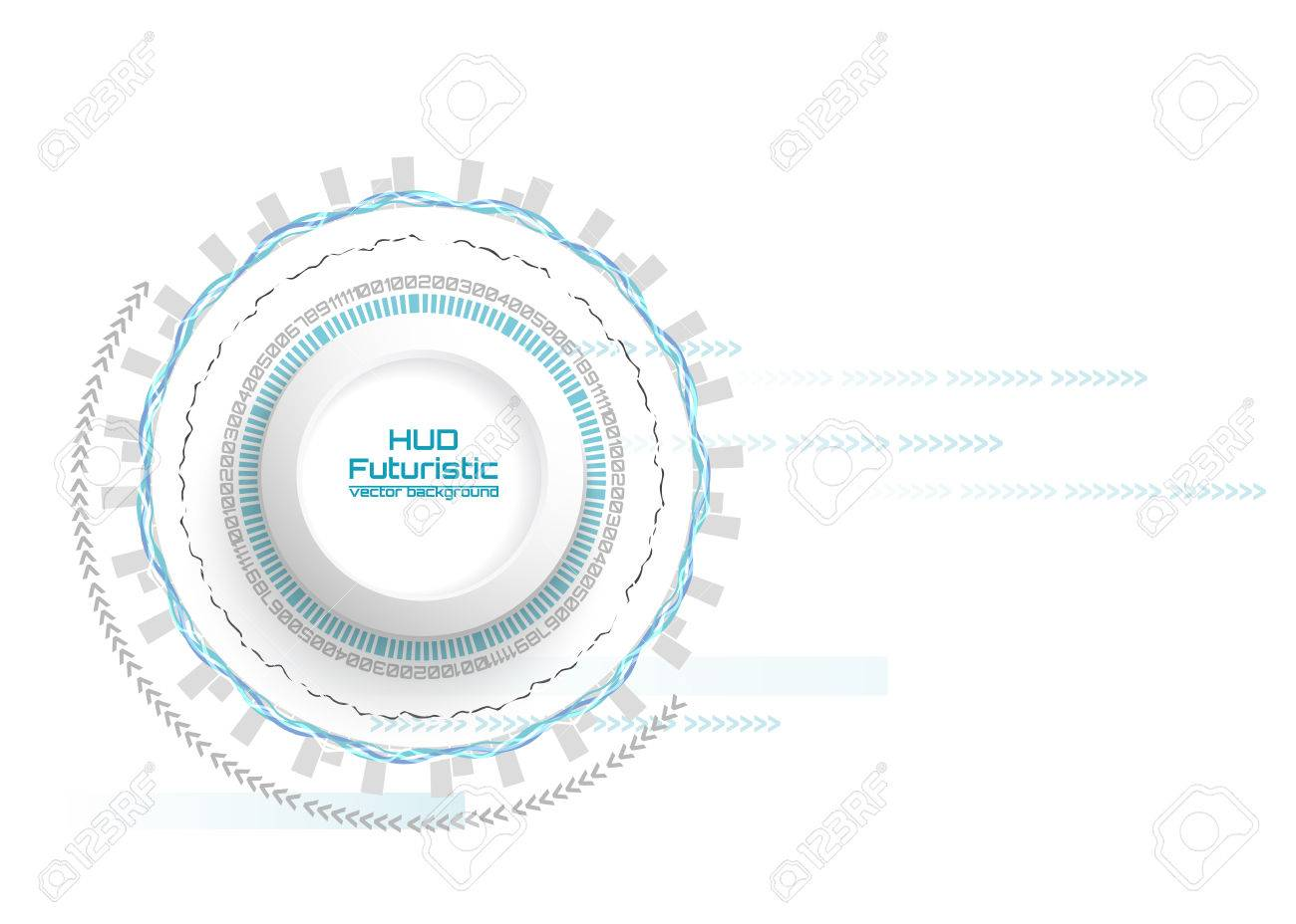 Vector Illustration Abstract Futuristic Circuit Board Hi Tech Blank Computer Digital Technology Concept White 3d Paper Circle For Your Design On