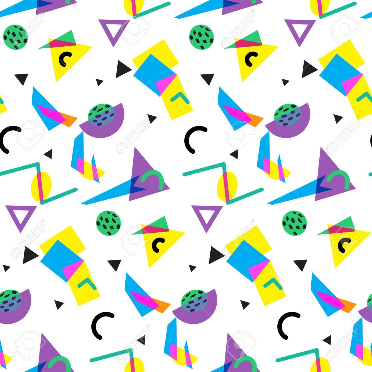 Seamless geometric pattern in retro 80s style, memphis