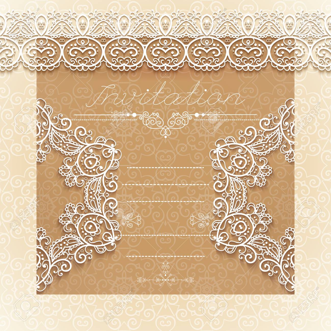 904c81f0a3 Vintage Wedding card or invitation with abstract lace seamless background  and borders. vector. Stock