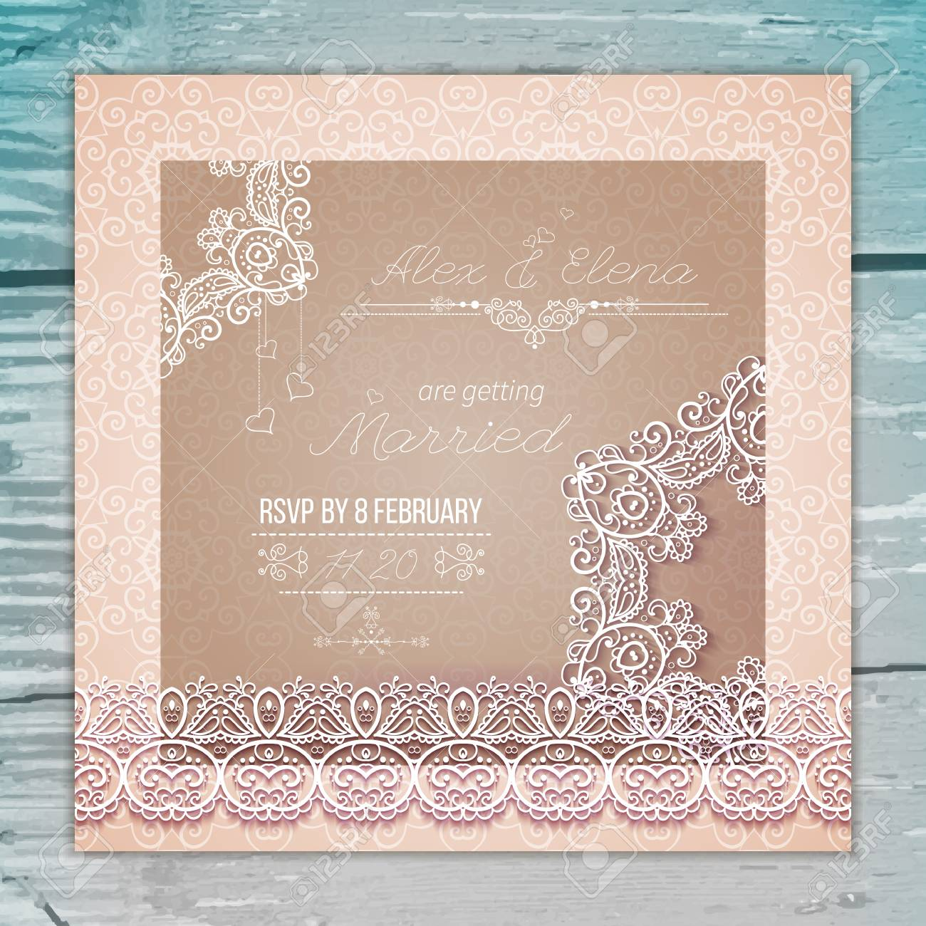 Vintage Wedding card or invitation with abstract lace seamless background and borders on a realistic wood texture. - 59758621