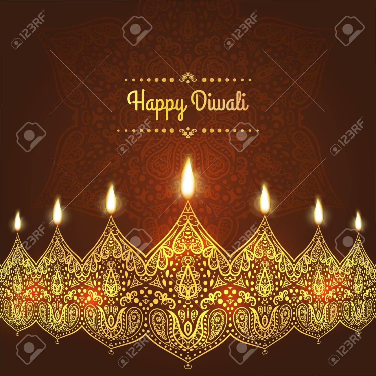 Happy Diwali Greeting Card Design For Diwali Festival With