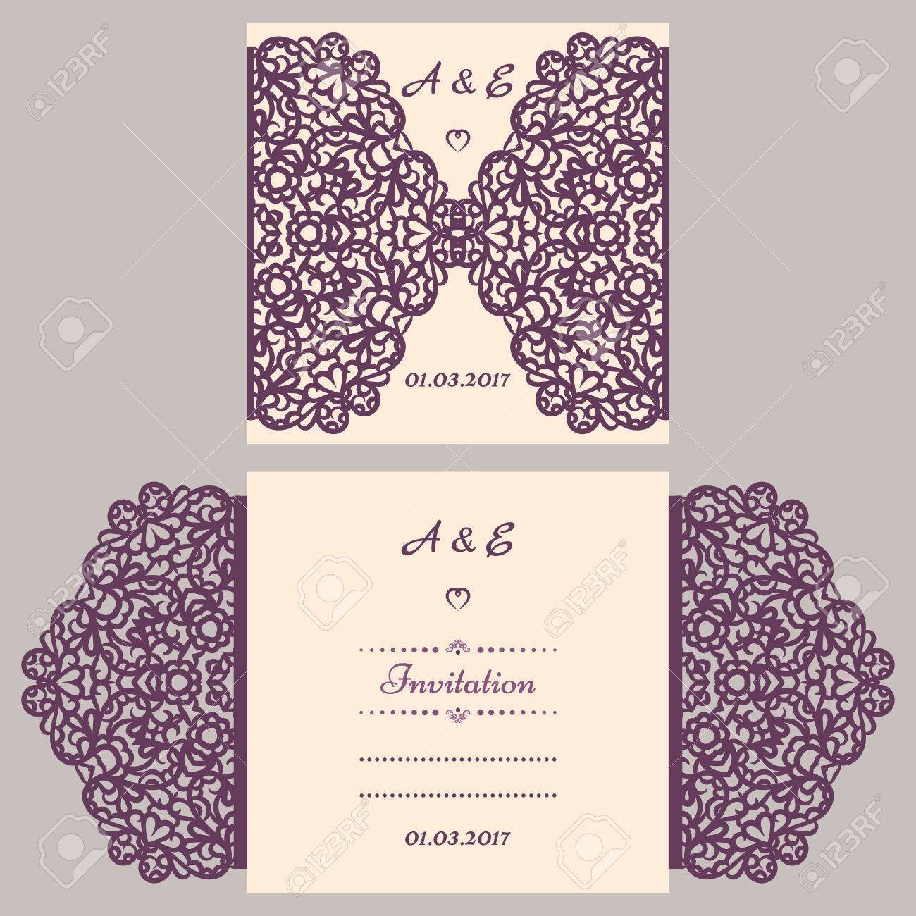 Wedding invitation or greeting card with abstract ornament vector vector wedding invitation or greeting card with abstract ornament vector envelope template for laser cutting paper cut card with silhouette stopboris Images