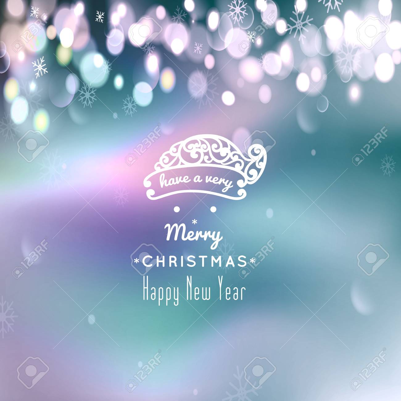 merry christmas and happy new year card christmas typographic message vector bokeh background