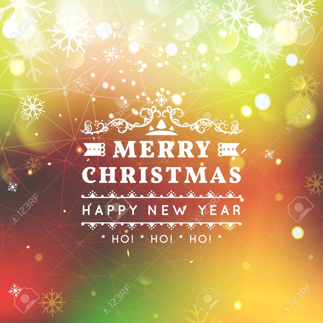 merry christmas and happy new year card christmas typographic message vector bright bokeh background