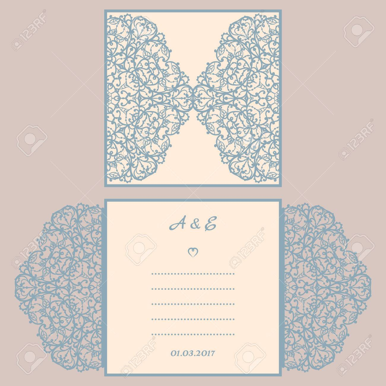 Wedding Invitation Or Greeting Card With Abstract Ornament ...