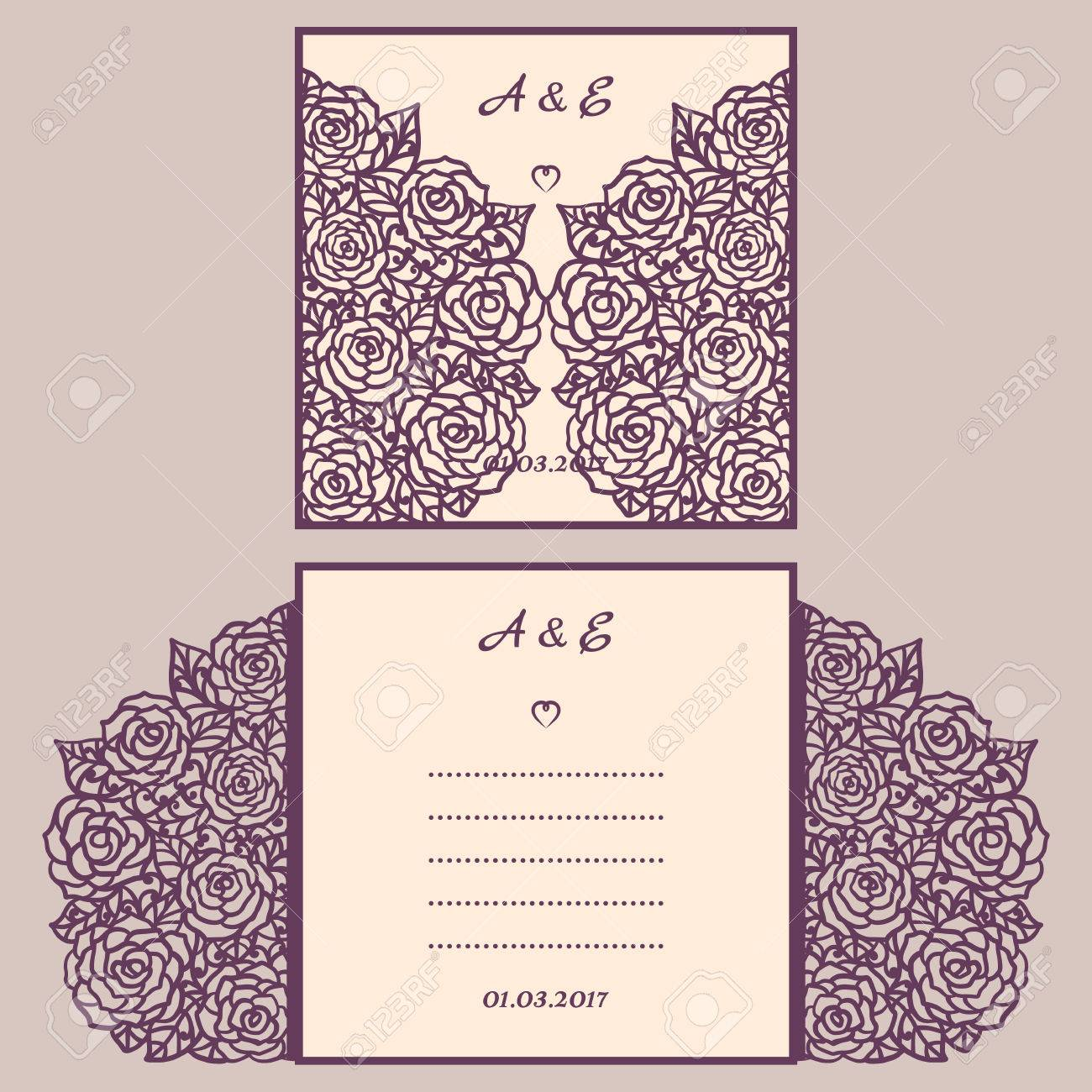 Wedding invitation or greeting card with abstract ornament wedding invitation or greeting card with abstract ornament envelope template for laser cutting paper stopboris Images