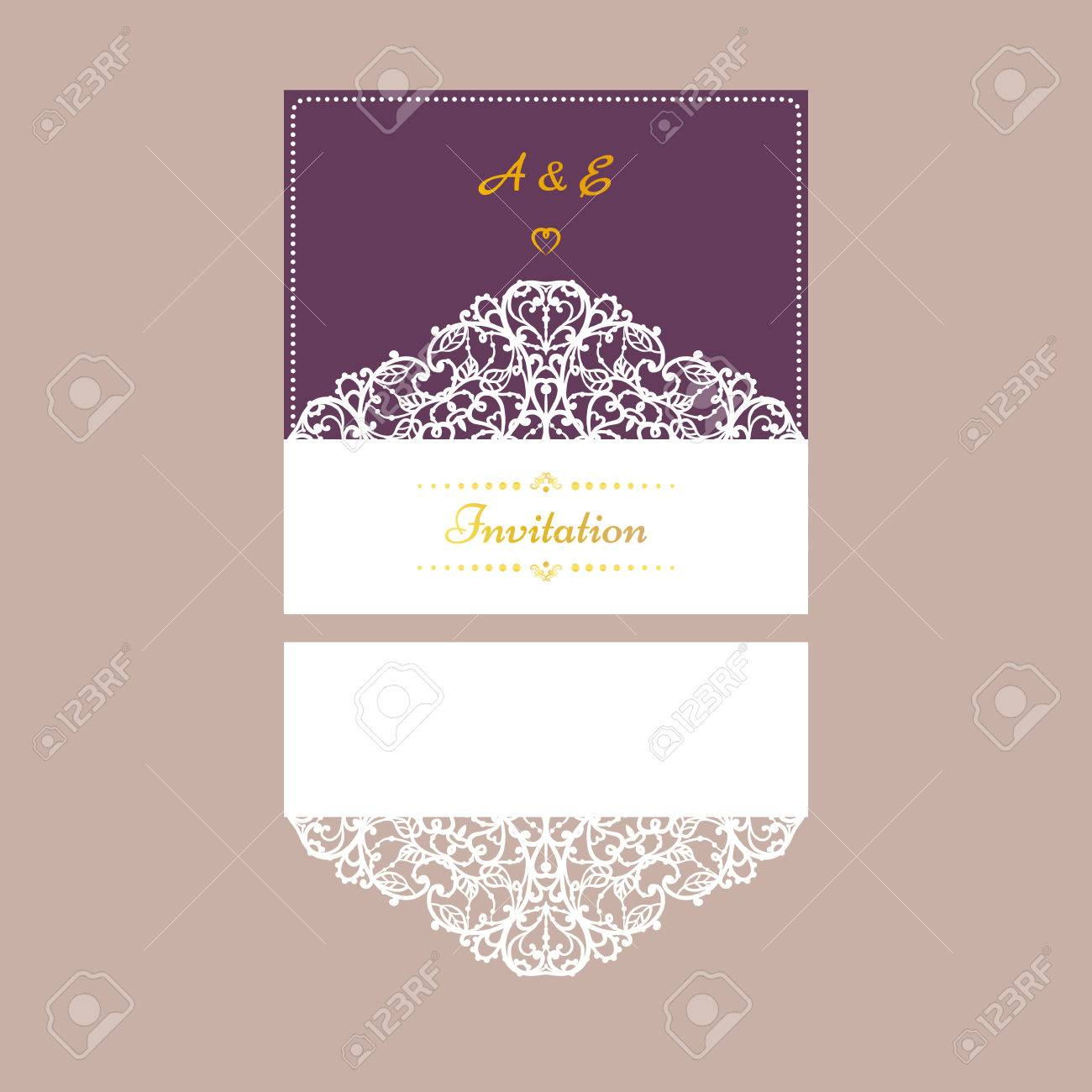 Wedding invitation or greeting card with abstract ornament vector vector wedding invitation or greeting card with abstract ornament vector envelope template for laser cutting paper cut card with silhouette m4hsunfo