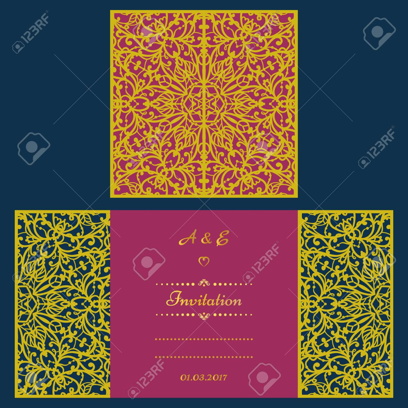 Wedding invitation or greeting card with abstract ornament vector vector wedding invitation or greeting card with abstract ornament vector envelope template for laser cutting paper cut card with silhouette stopboris Choice Image