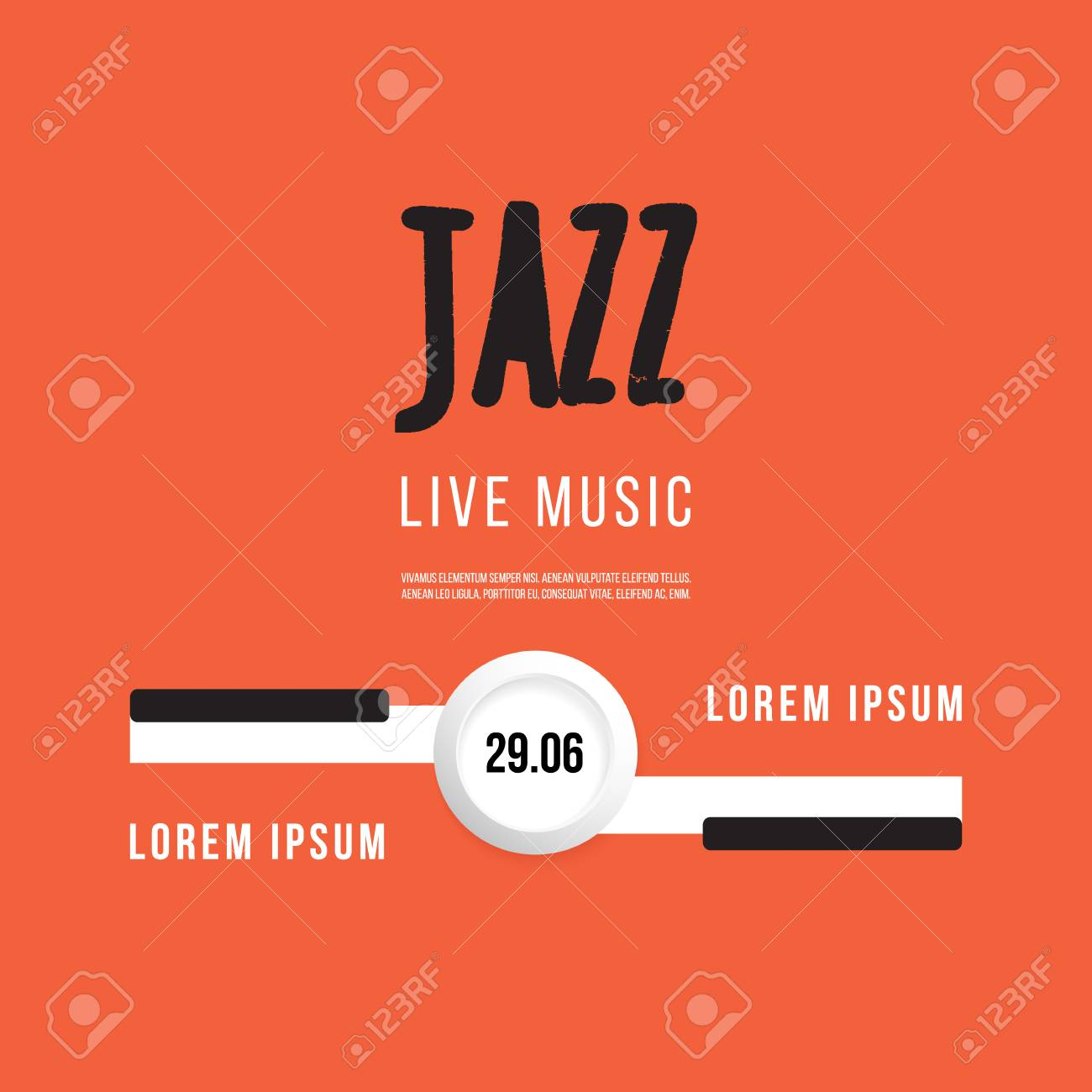 Jazz Music Festival Poster Background Template Keyboard With Keys Flyer Vector Design