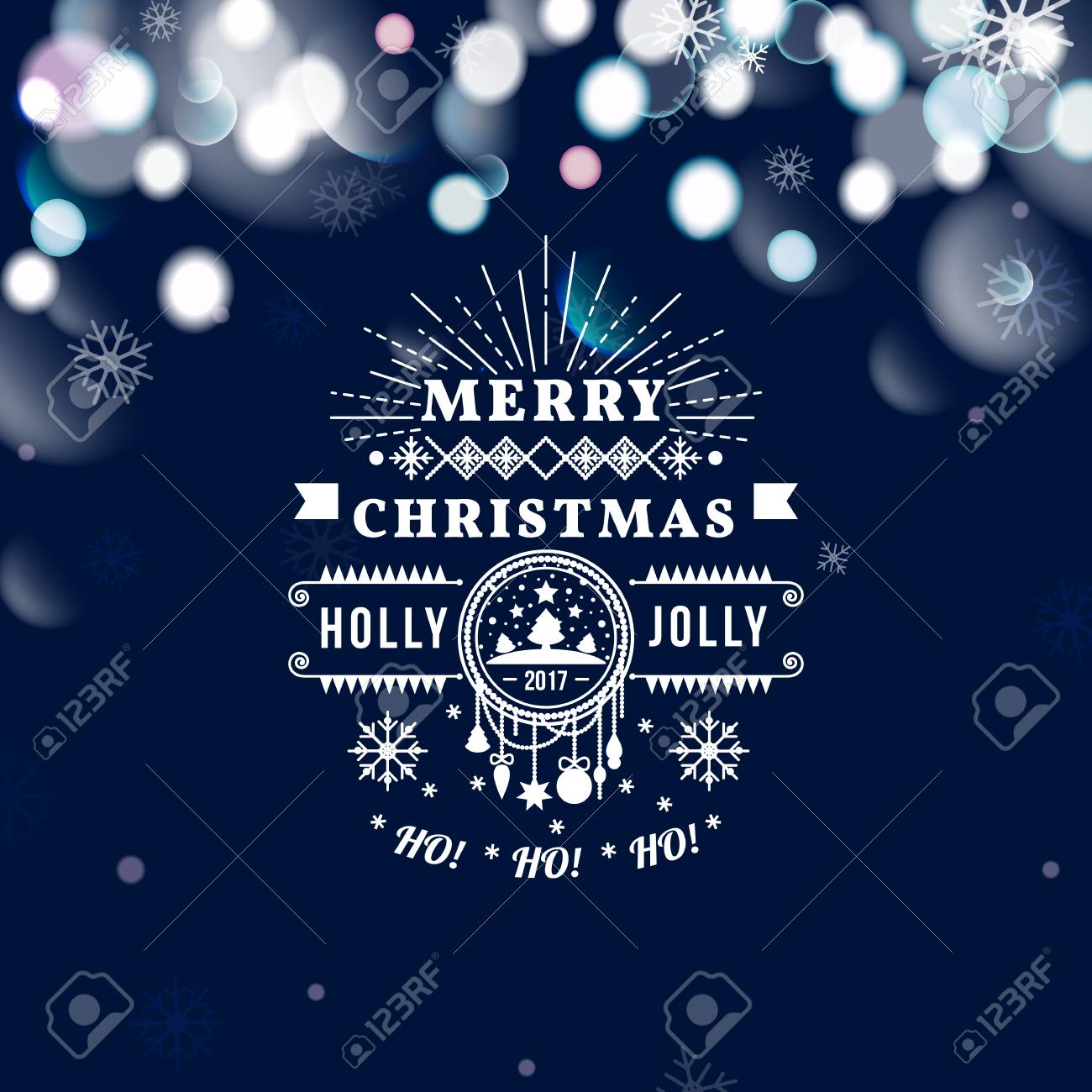 merry christmas and happy new year card christmas typographic message vector blue bokeh background