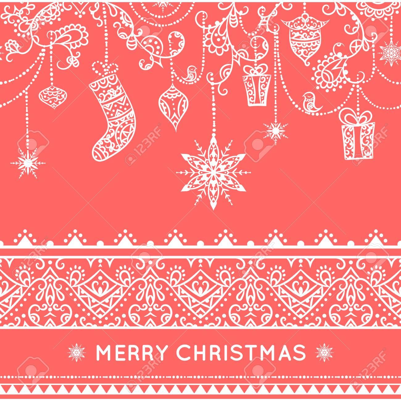 Nahtlose Muster Weihnachten Mit Dekoration Hängen. Spielzeug ...