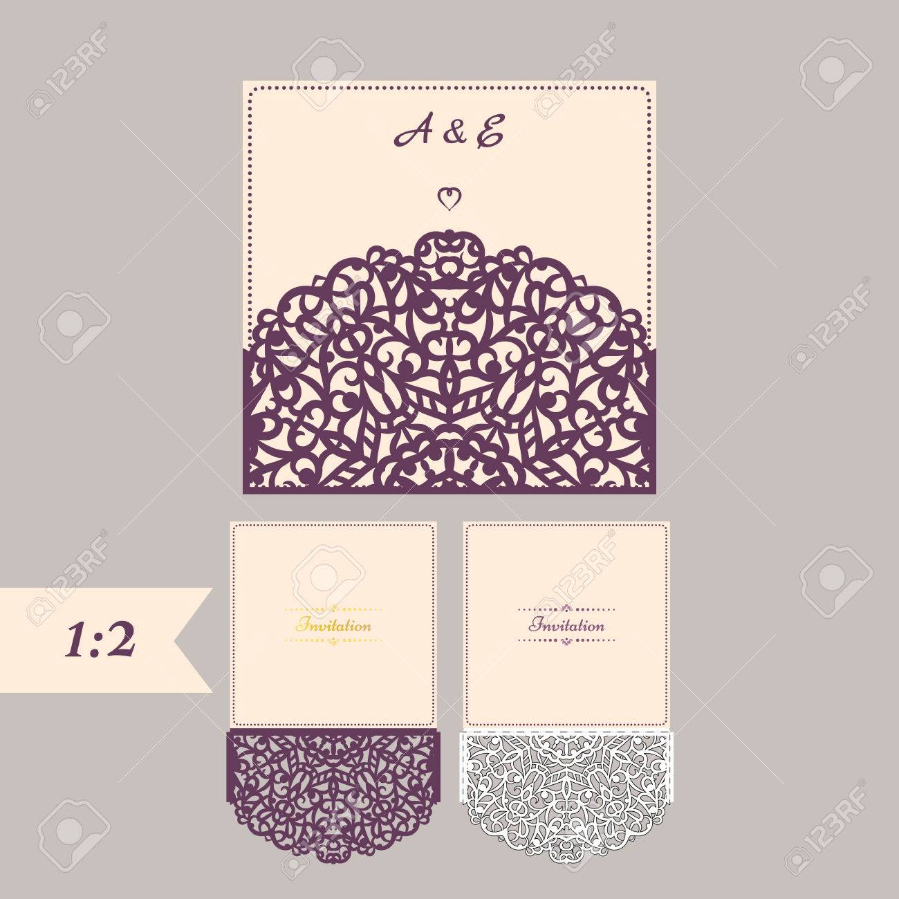 Abstract Wedding Cutout Invitation Template Suitable For Lasercutting Lazercut Vector