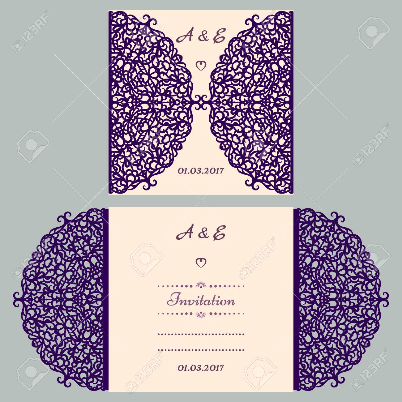 Die Cut Wedding Invitation Card Template Paper Cut Out Card