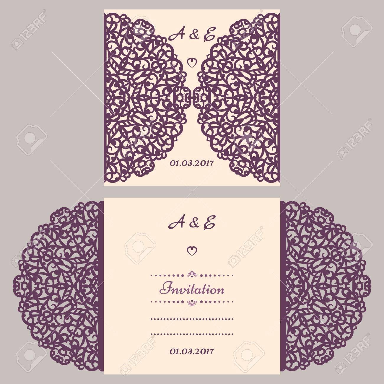 Lazercut vector wedding invitation template. Wedding invitation..