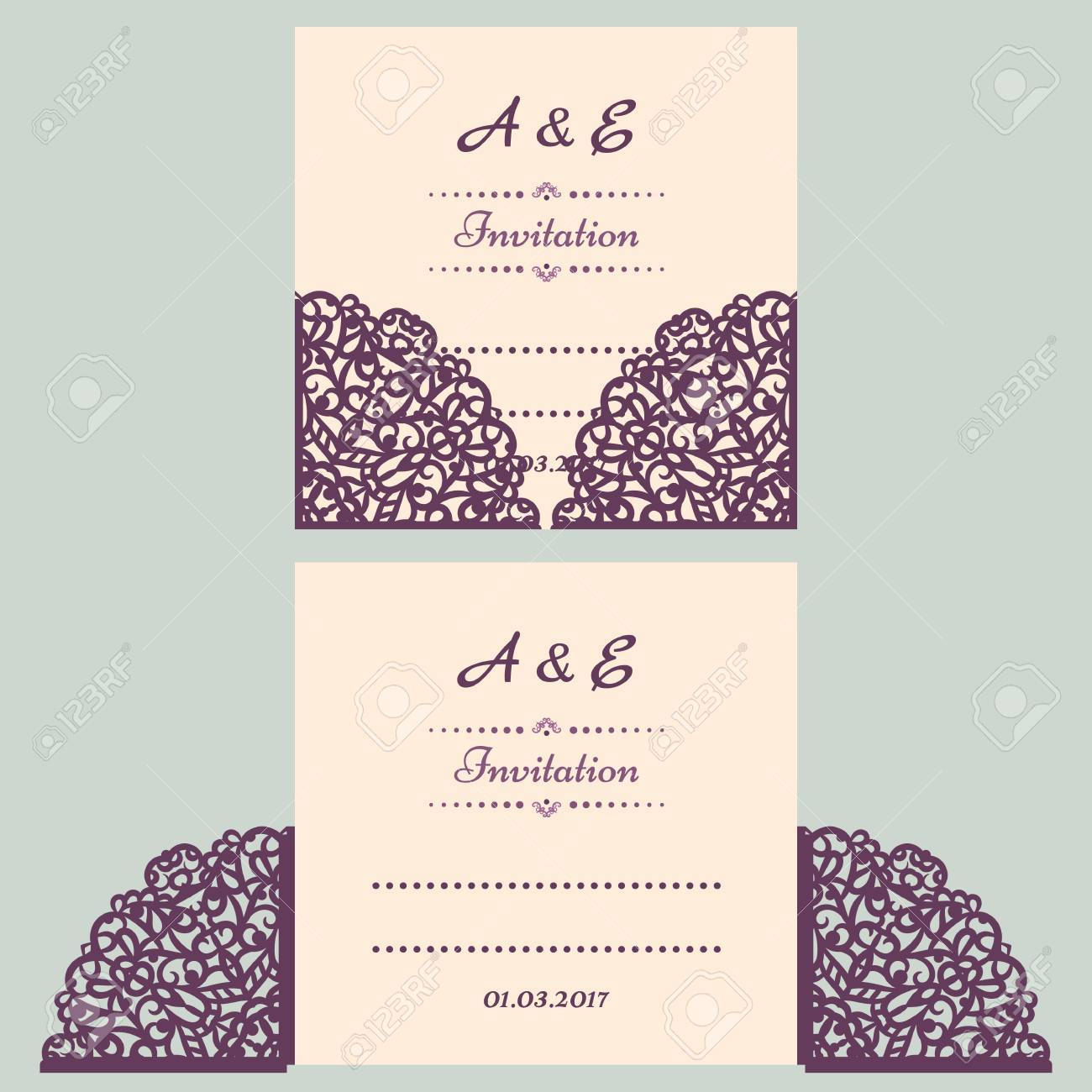 Lazercut vector wedding invitation template wedding invitation lazercut vector wedding invitation template wedding invitation envelope for laser cutting lace gate folds stopboris Gallery