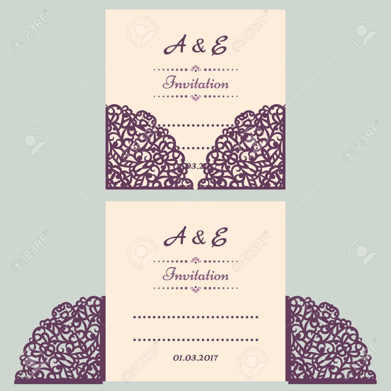 Lazercut Vektor Hochzeitseinladung Vorlage. Einladung Zur Hochzeit Umschlag  Für Das Laserschneiden. Lace Tor Folds