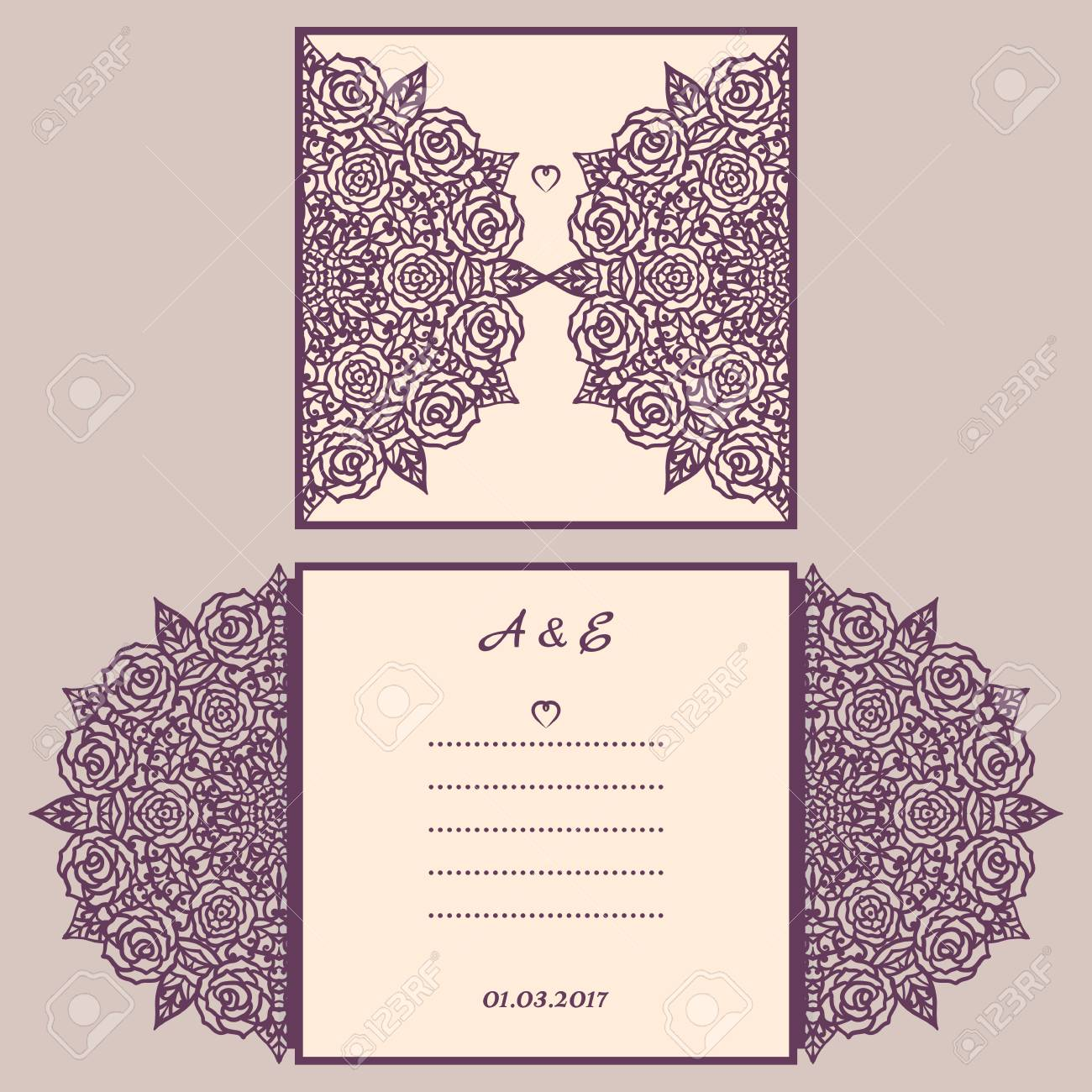 Abstract Wedding Cutout Invitation Template Suitable For Lasercutting Lazercut Lace