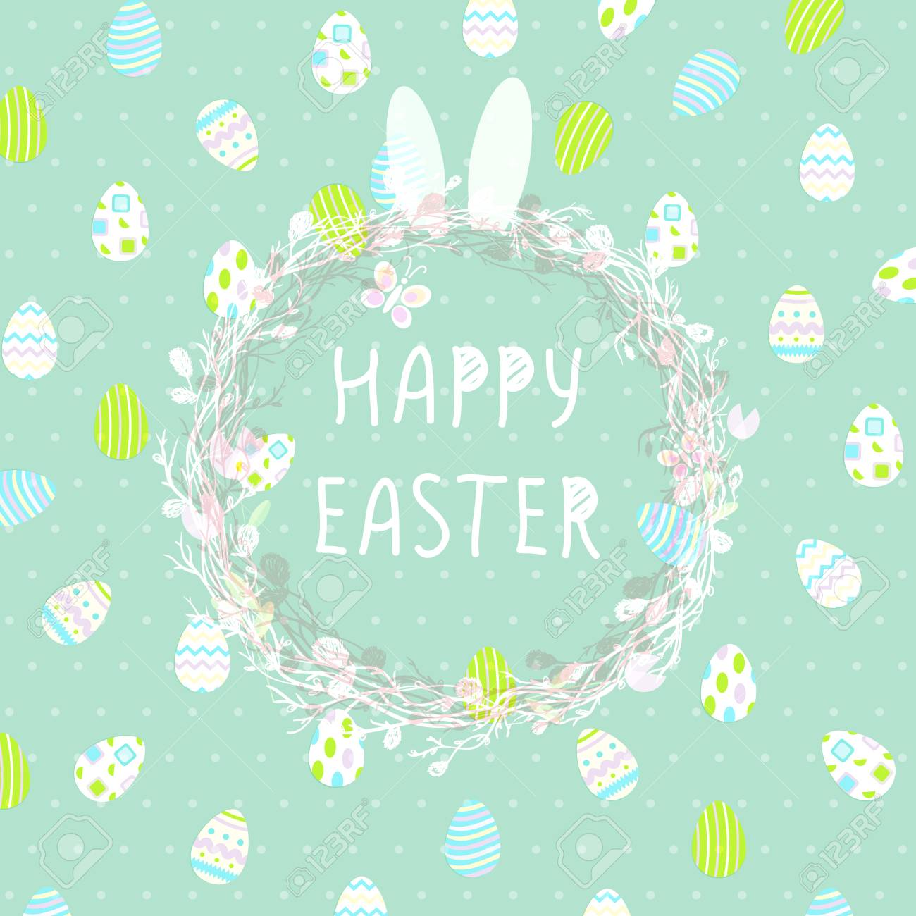 Cute Easter Eggs In A Wicker Nest Greeting Card On A Blue Background