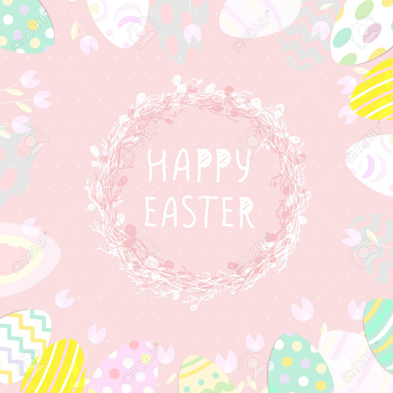 Cute Easter Eggs In A Wicker Nest Greeting Card On A Blue