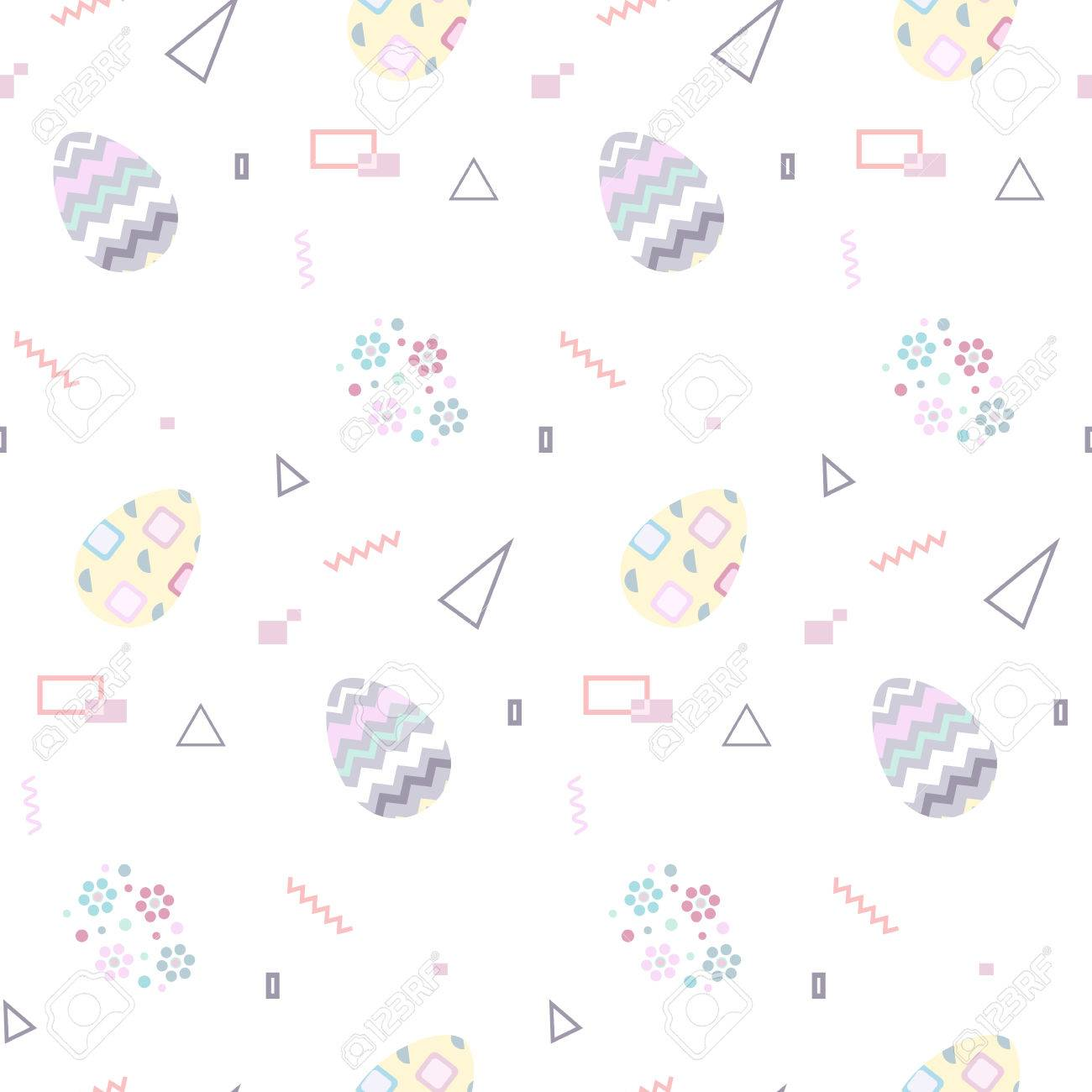 A Seamless pattern with Easter eggs in pastel color  Memphis