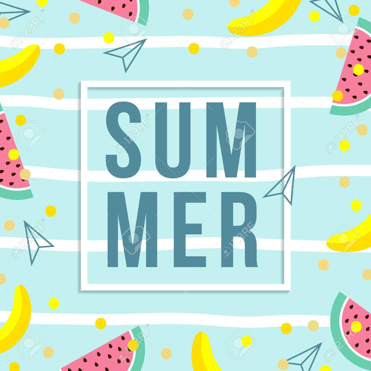 summer sale design template pattern with fruits banana watermelon