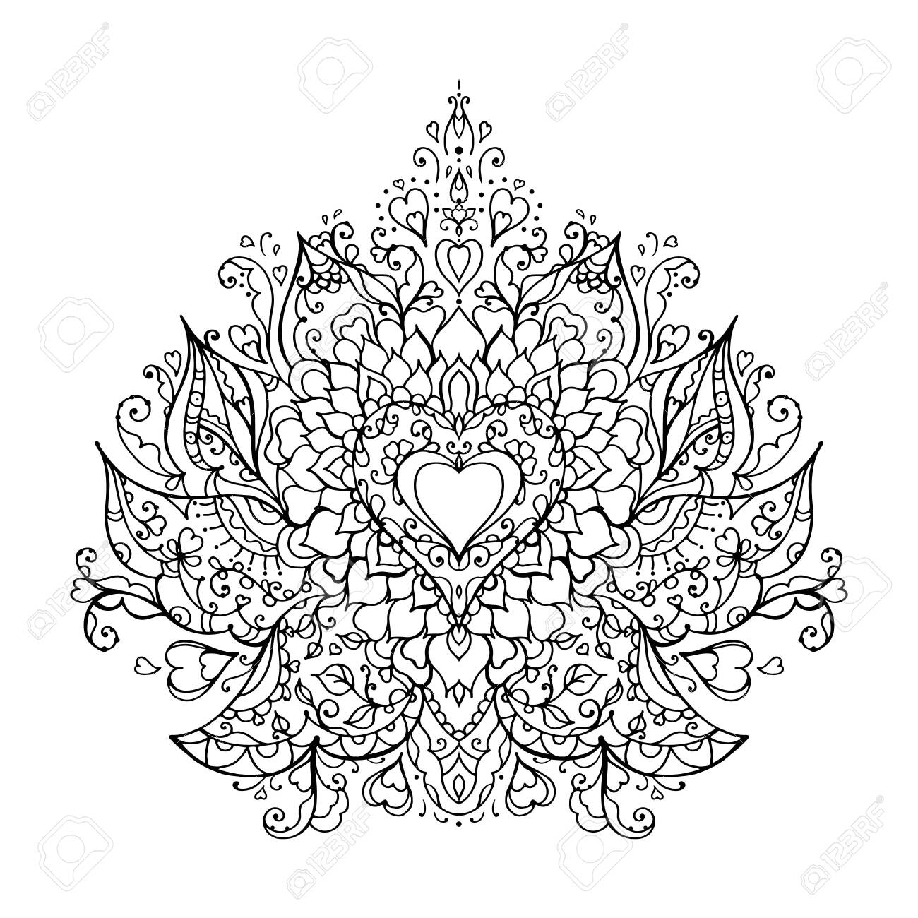 Mandala Art For Meditation Color Therapy Adult Coloring Pages Royalty Free Cliparts Vectors And Stock Illustration Image 144705772