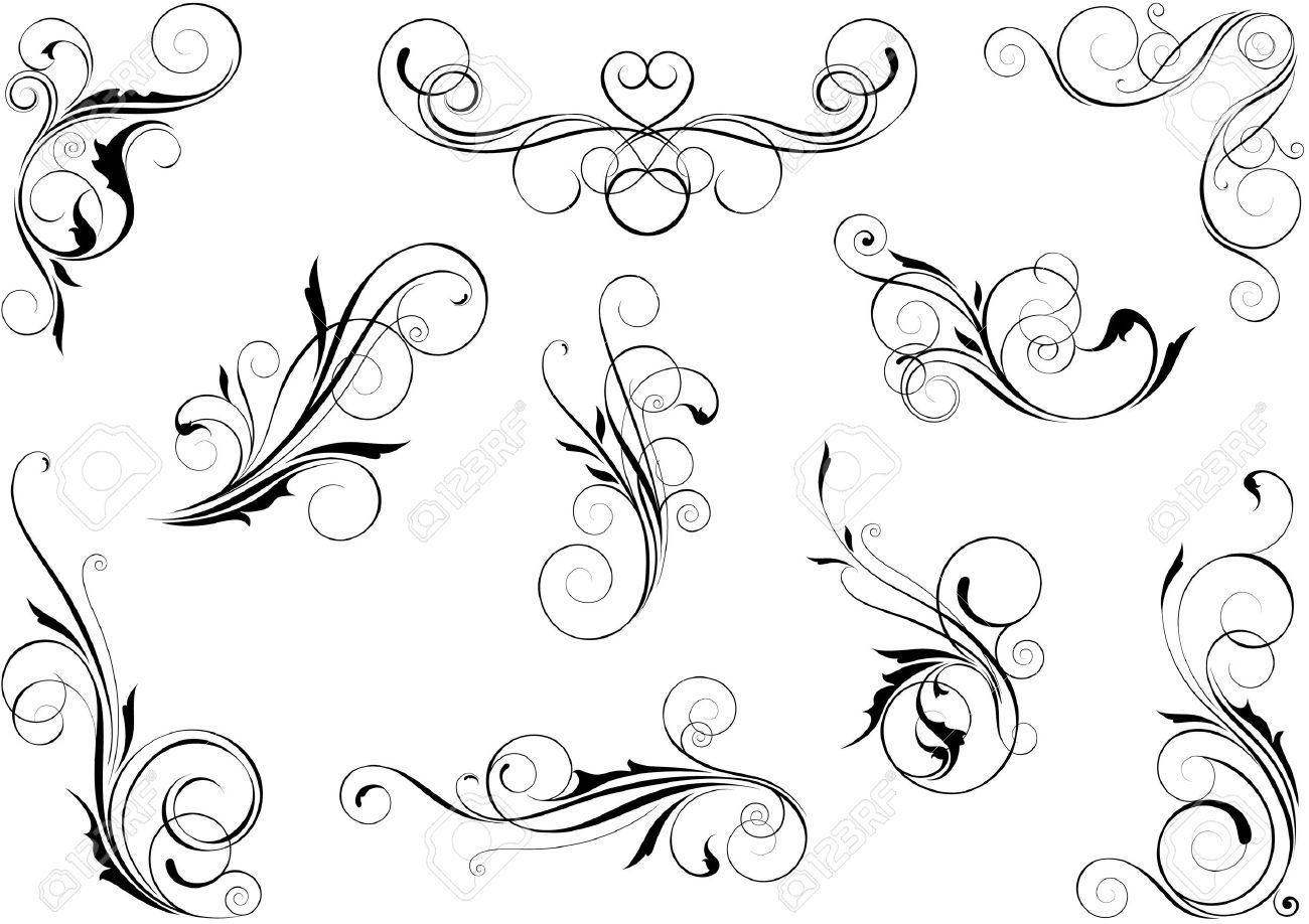 Swirl floral set Stock Vector - 12205709